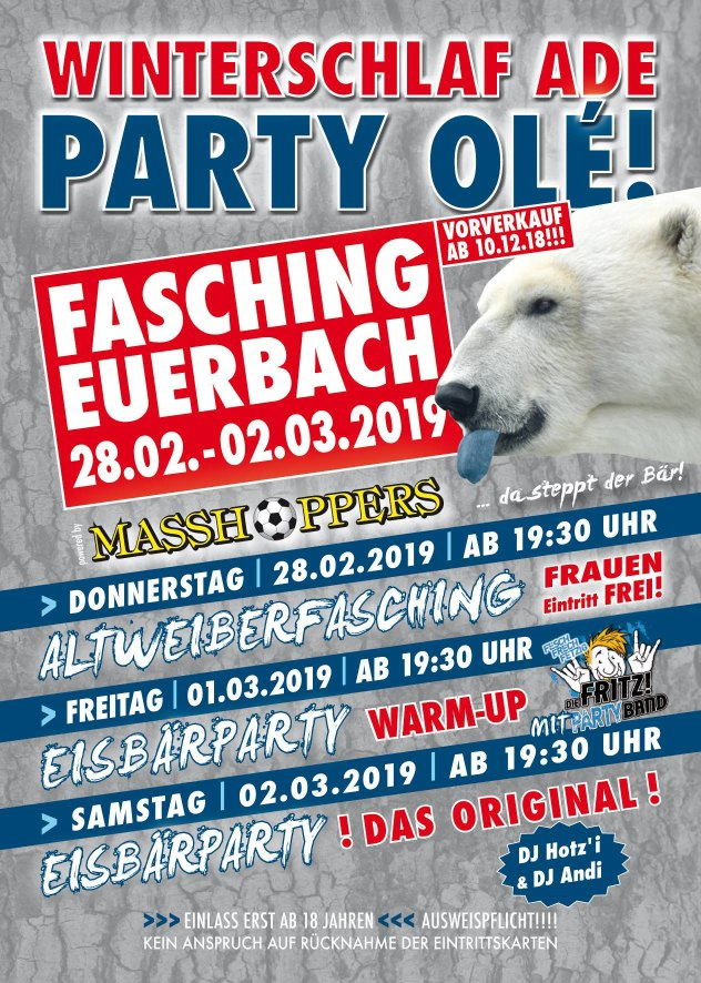 Eisbärparty - Fasching in Euerbach - Donnerstag 28.02. - Samstag 02.03.2019